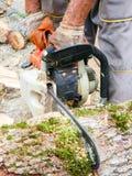 Man cutting wood with a chainsaw. Man cutting big wood with a chainsaw Stock Photography