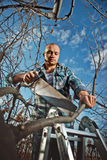 Man cutting a branch Royalty Free Stock Photo