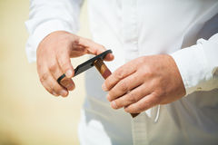 Man Cutting a Cigar. Using Straight Cut with Double-Guillotine Cutter Stock Photos