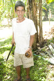 Man cutting coconut Nicaragua Royalty Free Stock Photography