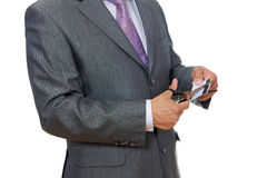 Man cutting credit card Royalty Free Stock Photography