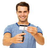 Man Cutting Credit Card With Scissor Royalty Free Stock Photo