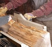 Man cutting Firewood with circular saw Stock Image