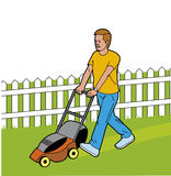 Man cutting the grass. Vector Man cutting the grass in garden Stock Illustration