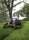 Man cutting grass on lawnmower Stock Image
