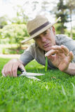 Man cutting grass with scissors Stock Image