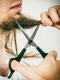 Man cutting his beard Stock Photography