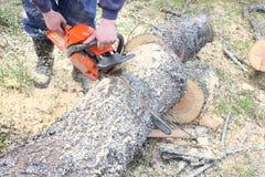Man cutting a piece of wood by using saw machine stock photo
