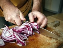 Man cutting red onion Stock Images
