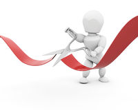 Man cutting red ribbon with scissors Royalty Free Stock Photo