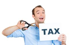 Man cutting taxes Royalty Free Stock Photo