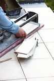 Man cutting tile by cutter Stock Images