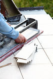 Man cutting tile by cutter Stock Image