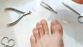 Man cutting toenails with clipper. Male cut toenails on foot. Foot and toes close-up. Top view. Man cutting toenails with clipper. Male cut toenails on foot stock video