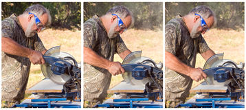 Man Cutting Wood Royalty Free Stock Photography