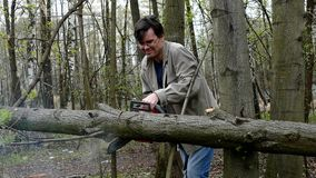 Man cutting wood by chainsaw Stock Images