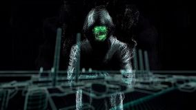Man cyber figure in hood standing in the dark among green waves and throwing red glowing object. Abstract animation with royalty free illustration