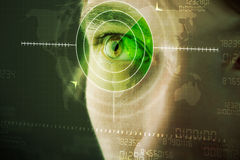 Man with cyber technology target military eye Stock Photos