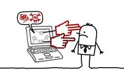 Man & cyberbullying. Hand drawn cartoon characters - man & cyberbullying Royalty Free Stock Images