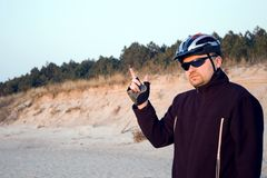 Man with cycle helmet Stock Photos