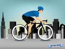 Man cycling on the downtown road vector Stock Image