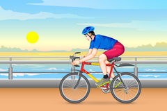 Man cycling for fitness Stock Images