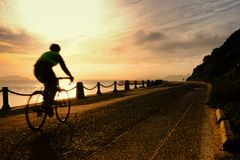 Man cycling at Golden Gate National Recreation Area royalty free stock photos