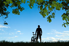 Free Man Cycling Silhouette Royalty Free Stock Photography - 23321857