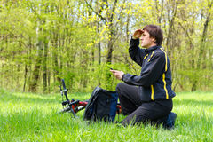 Man cyclist looking for direction of nature Stock Photos