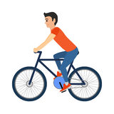 Man cyclist rides a bicycle. Vector illustration  on white Royalty Free Stock Images