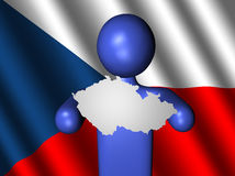 Man with Czech map on flag Royalty Free Stock Photography