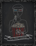 Man in 3D glasses eating delicious popcorn from a big striped c vector illustration
