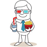 Man with 3D glasses and popcorn Stock Photos