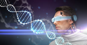 Man with 3d glasses, sensors and dna molecule Stock Images