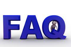 man 3d i FAQ-begrepp Royaltyfri Bild