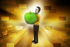 man 3d med äpplet Royaltyfri Bild