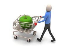 man 3d med äpplet i shoppingspårvagn Arkivfoton