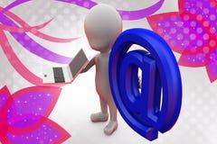 man 3d med bärbar datorillustrationen Fotografering för Bildbyråer