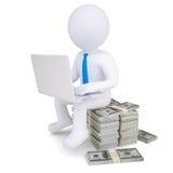 man 3d med bärbar datorsammanträde på en hög av pengar Royaltyfri Bild