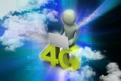 man 3d med 4G och bärbara datorn Royaltyfri Bild