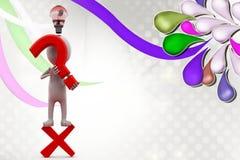 man 3d med illustrationen för symbol för fel och frågefläck Arkivfoto
