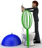 man 3d med matlagningutrustning som blandare- och skedbegrepp Fotografering för Bildbyråer