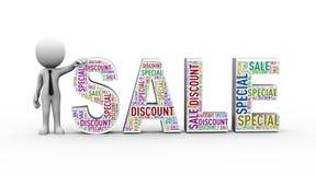 man 3d med wordcloud för special rabatt för försäljning Arkivfoton