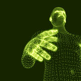 Man. 3D Model of Man. Human Body Model. Body Scanning. View of Human Body. Vector Graphics Composed of Particles Royalty Free Stock Photo