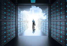 Man in 3d network server room as concept Royalty Free Stock Image