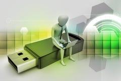 man 3d och bärbar dator som sitter usb Royaltyfri Foto