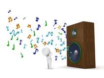 man 3D och enorm hög högtalare med musikaliska anmärkningar Royaltyfria Bilder