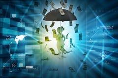 man 3d och paraply i pengarregn Arkivbild