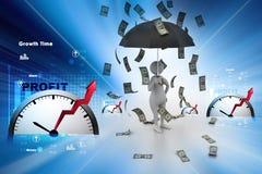 man 3d och paraply i pengarregn Arkivfoton
