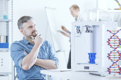 Man with 3D printer Stock Photos